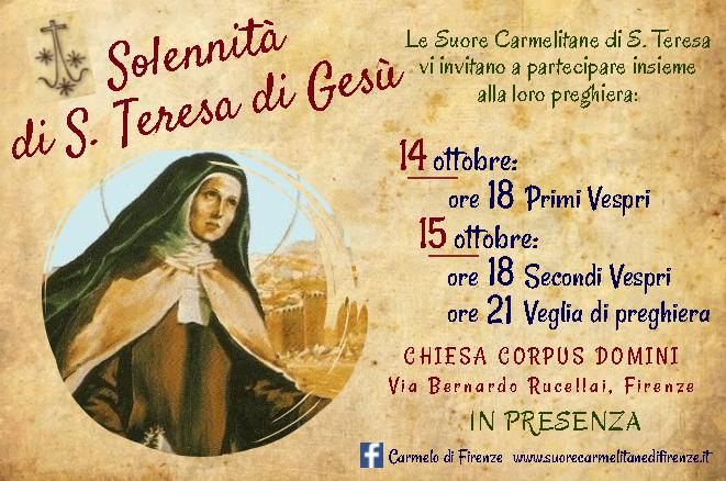 Solennità di S. Teresa di Gesù
