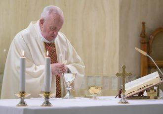 Pope Francis leads a mass at Santa Marta, Vatican City, 20 April 2020. ANSA/VATICAN MEDIA ++ NO SALES, EDITORIAL USE ONLY ++